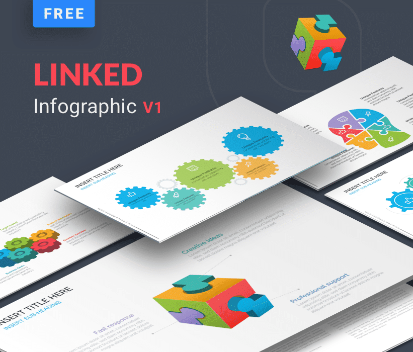Linked business infographic template for powerpoint