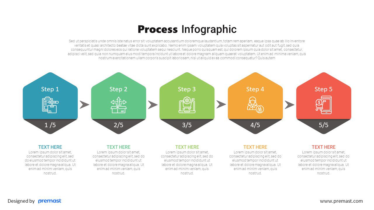 5 steps process infographic