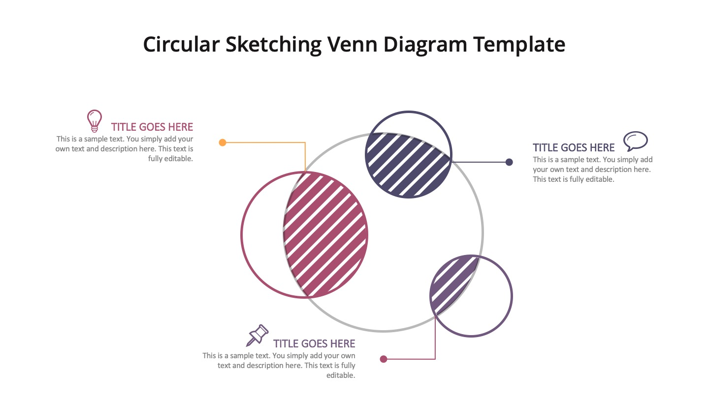 Circular Sketching Venn Diagram Template for powerpoint