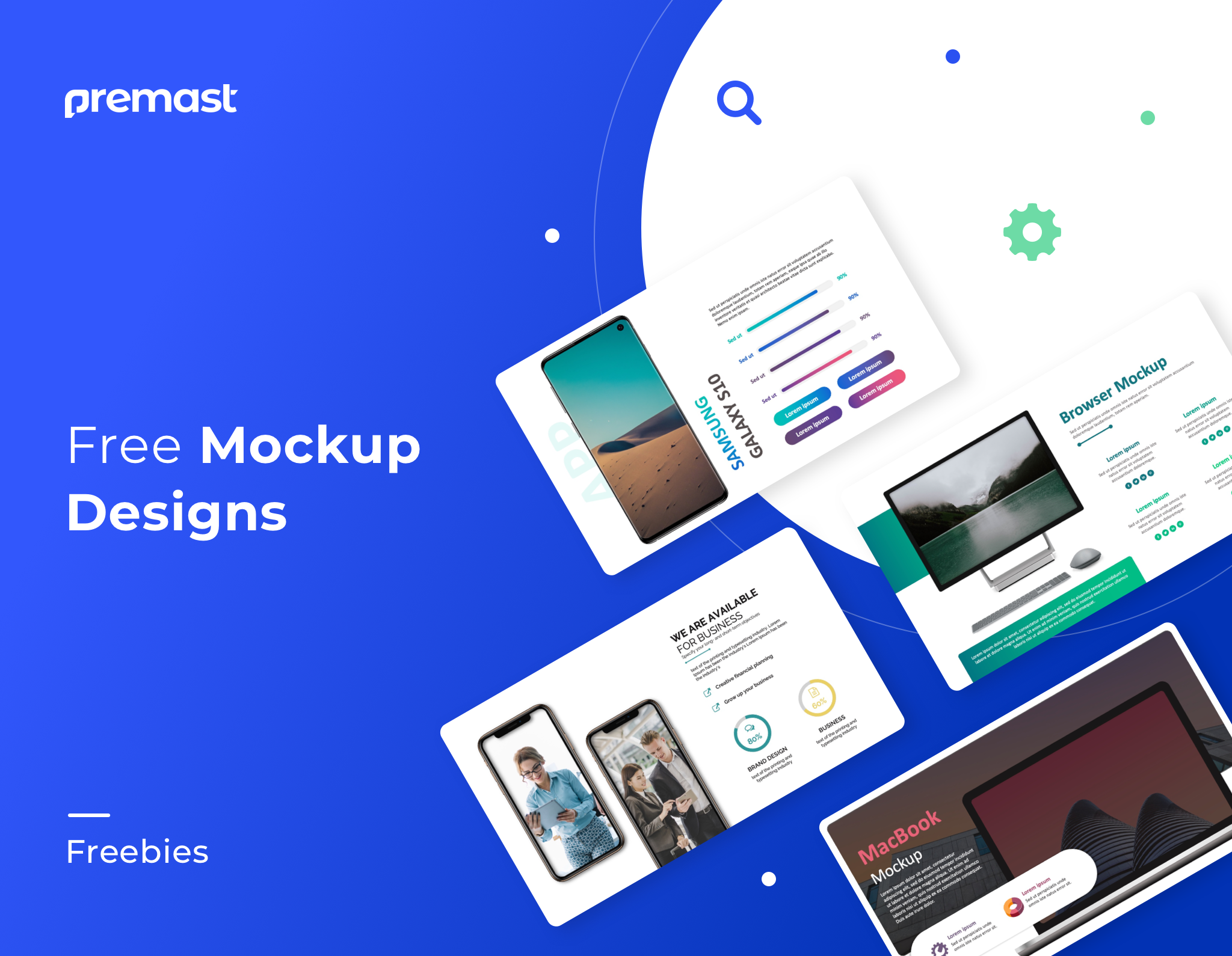 Multiple Free Mockups designs – Editable with unlimited options
