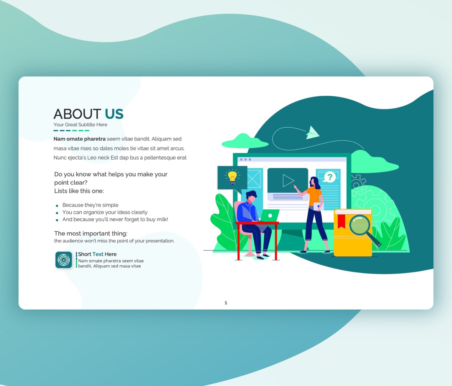 About us slide with E-learning vector slide template