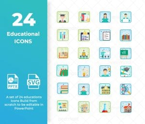 24 Educational Icon set ready for powerpoint