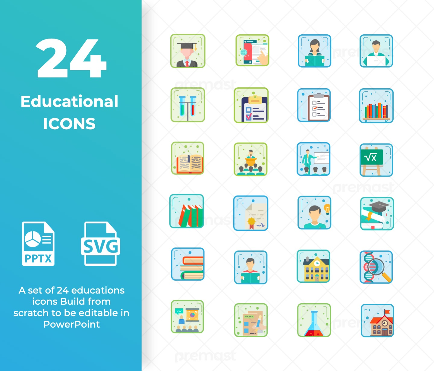 24 Educational Icon set for PowerPoint (SVG - PPT)