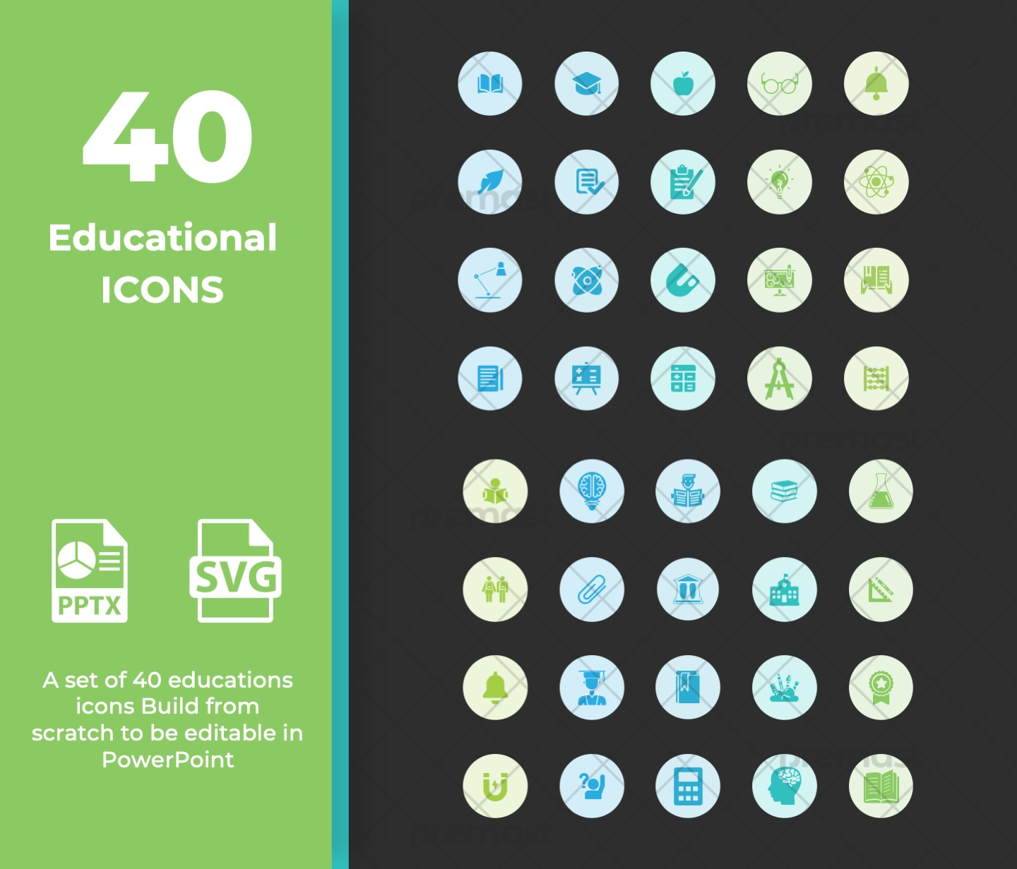 40 educational icons for powerpoint