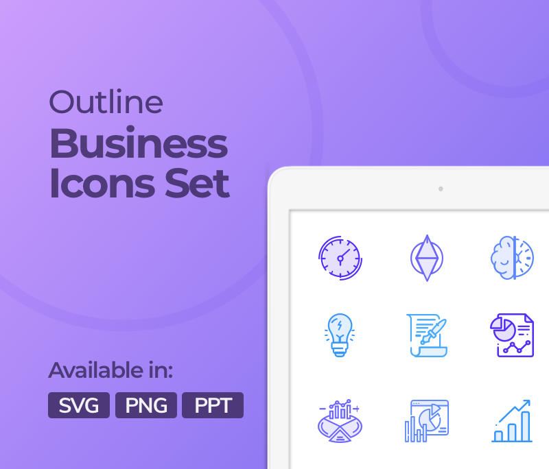 Creative Outline Style Icons Set For Business