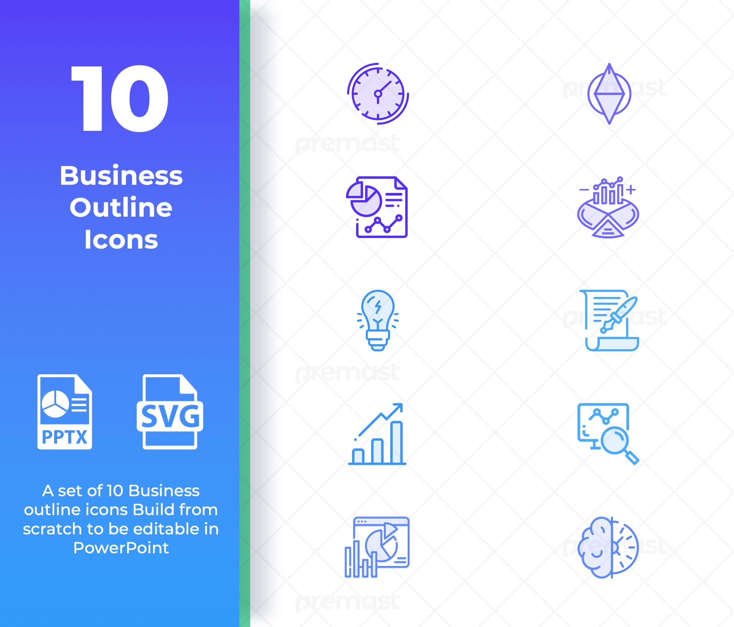 Outline Business Icons for PowerPoint