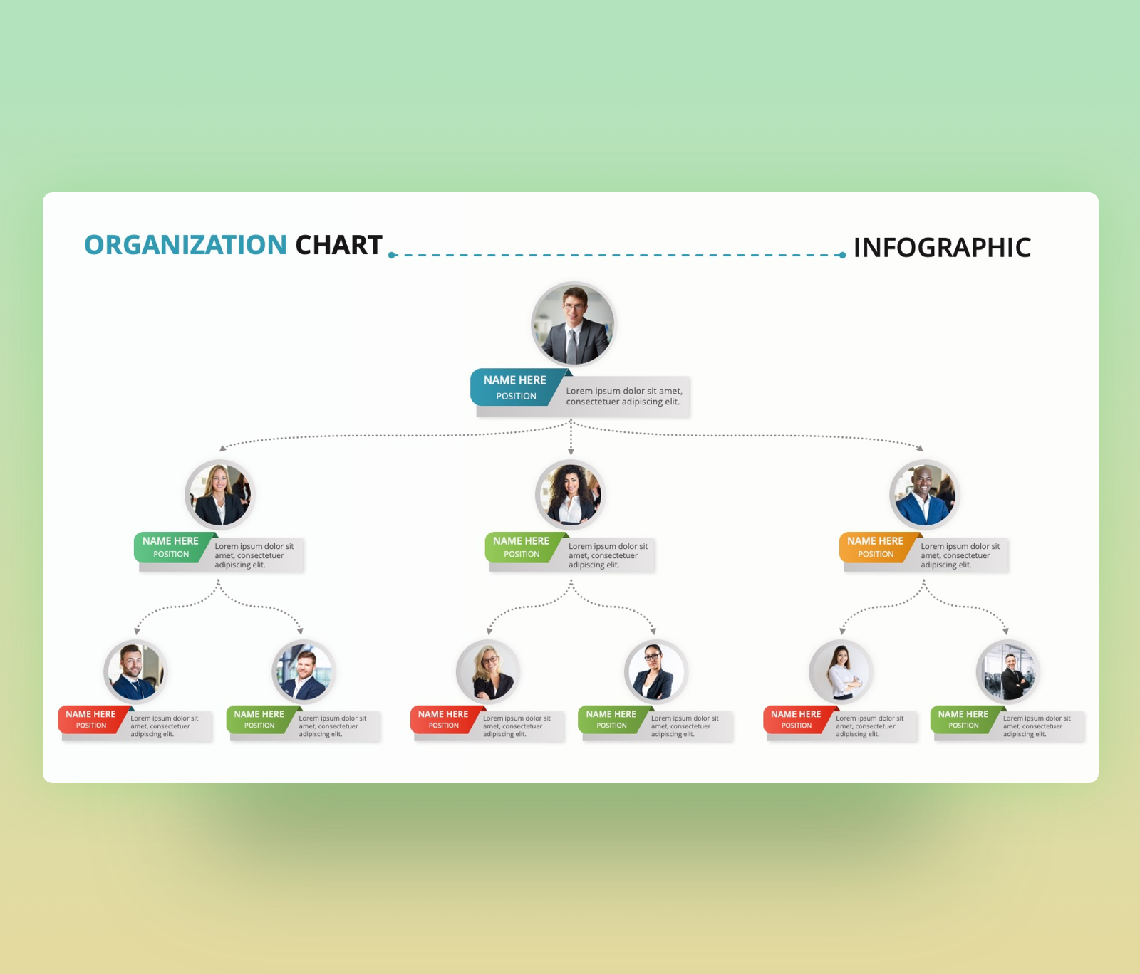Team Organization Chart – PowerPoint Slide Template