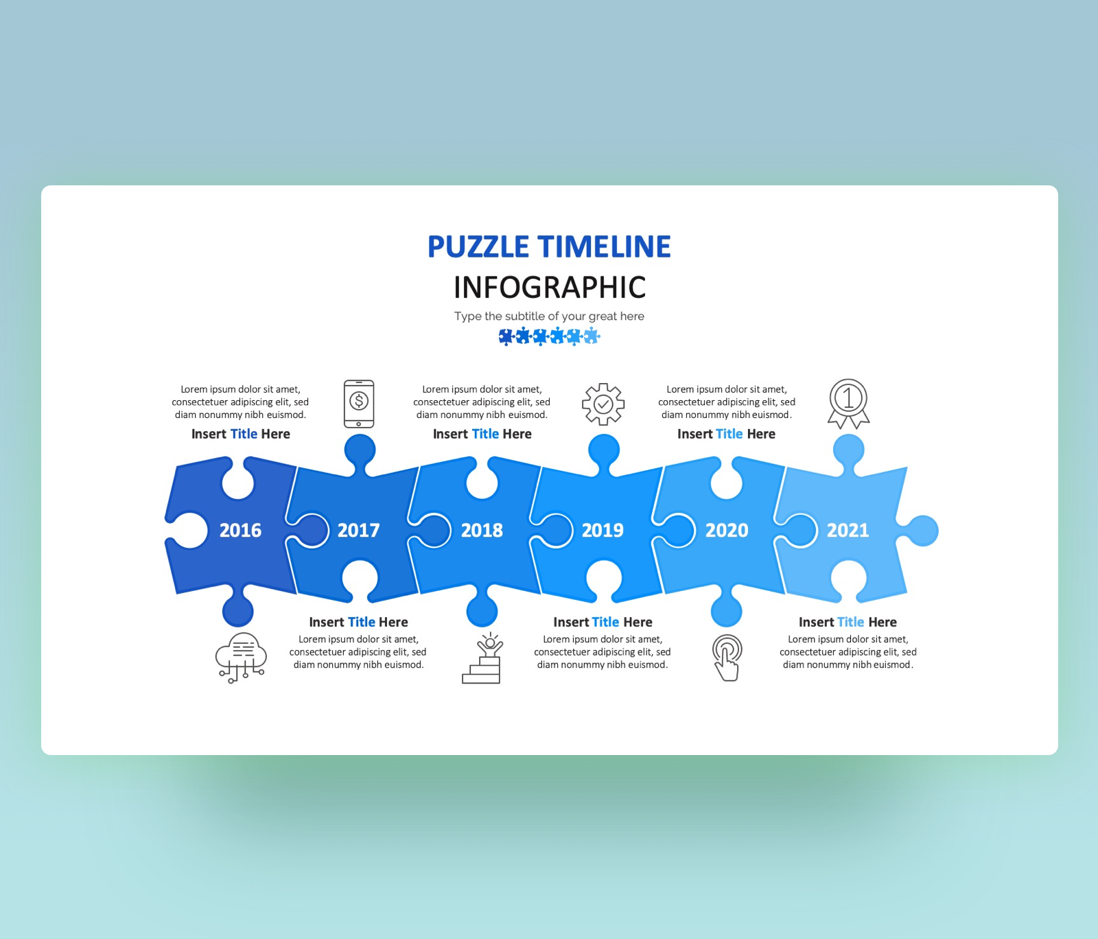 Free Puzzle Timeline Infographic – PPT Slide Template