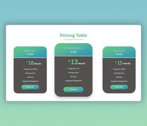 Pricing Table PowerPoint Template Free Download