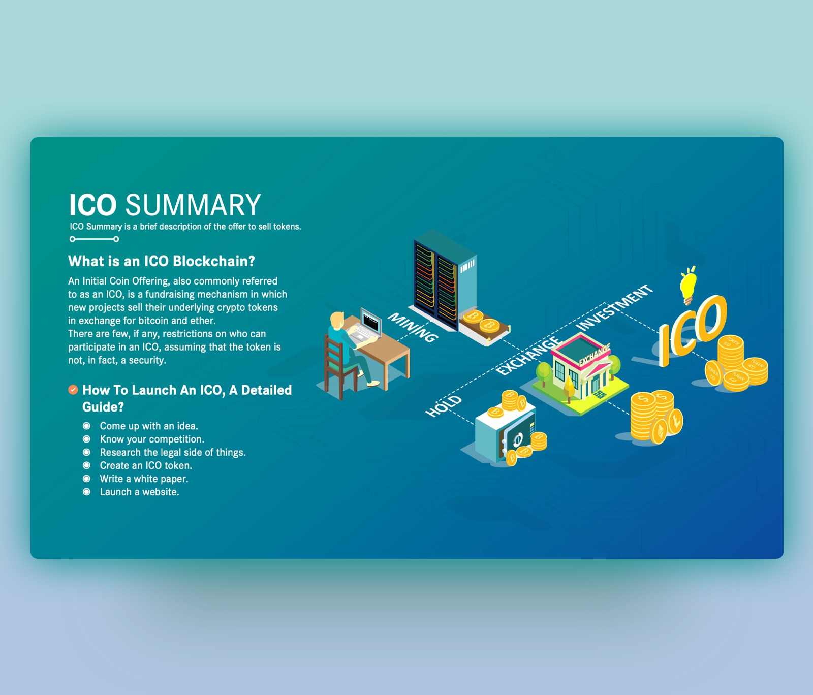 ICO Blockchain Summary PowerPoint Template