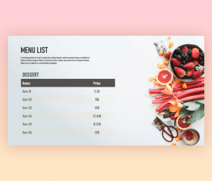 Restaurant Menu List PowerPoint Template Free Download