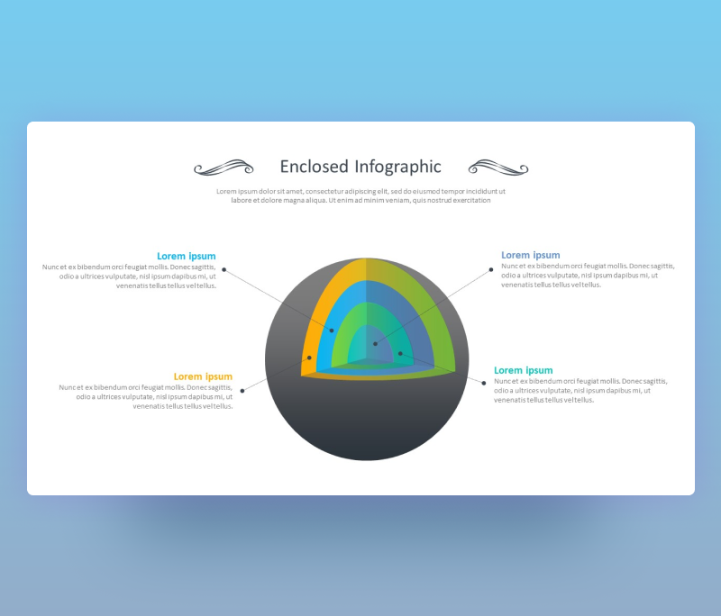 Enclosed Infographic of Open 3D Sphere for PowerPoint