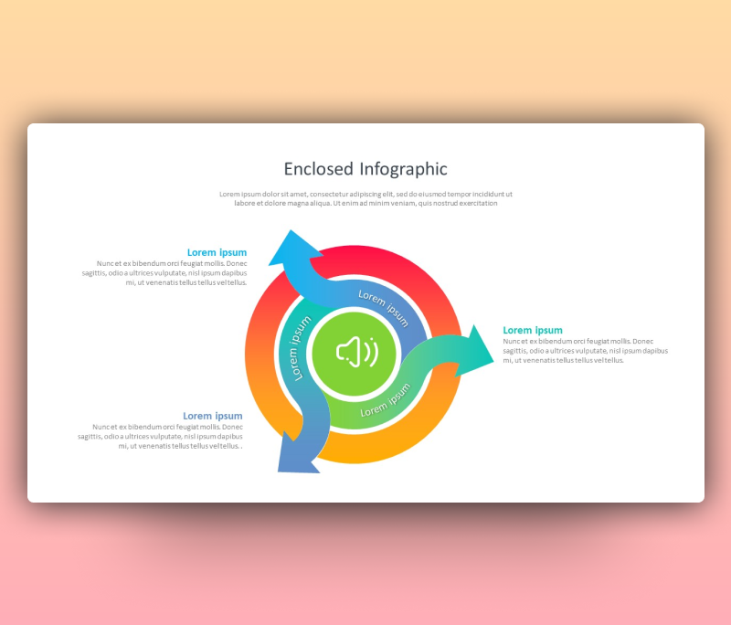 Enclosed Infographic with Curved Arrow Theme PPT
