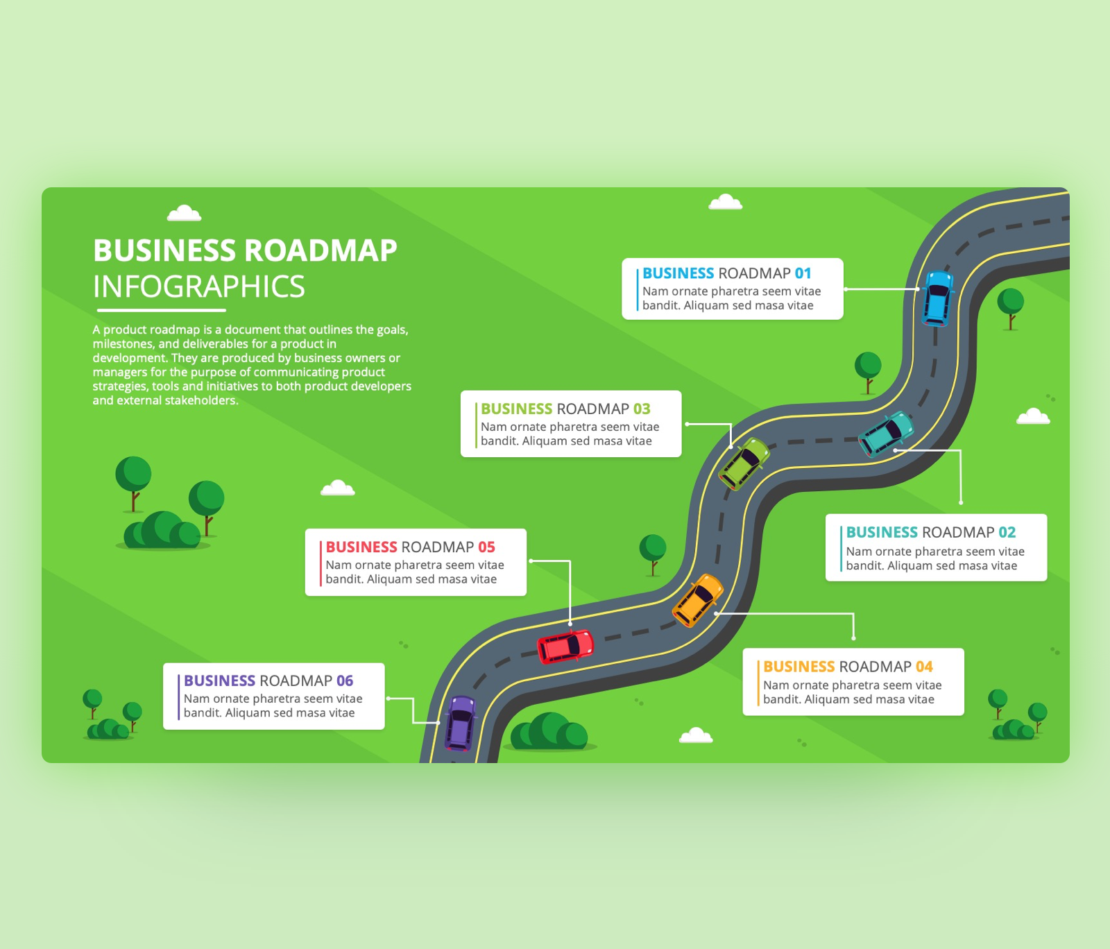 Business Roadmap with Six Stages – PowerPoint Template