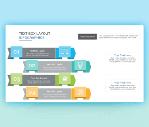 colorful infographic Text boxes PowerPoint Template