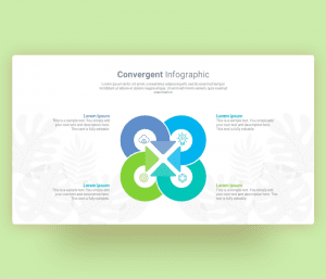 PowerPoint Convergent Infographic with Curved Arrow