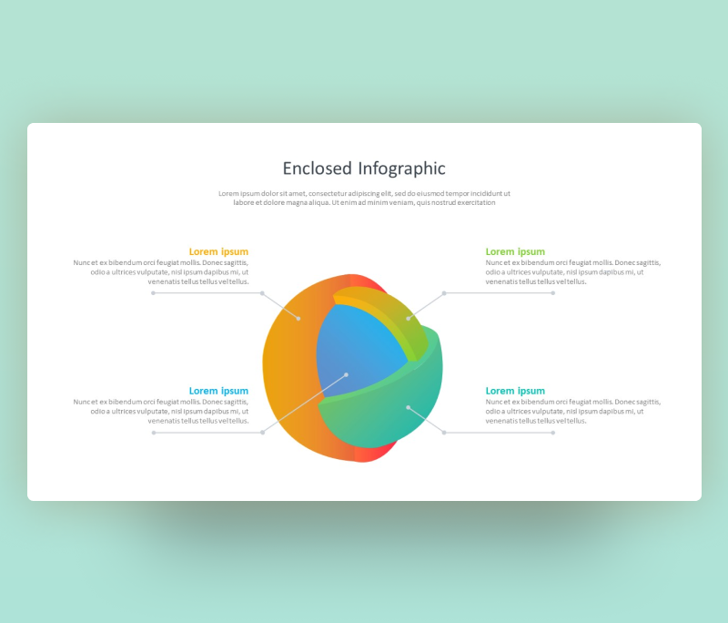 3D Enclosed Infographic PowerPoint – Free SmartArt PPT