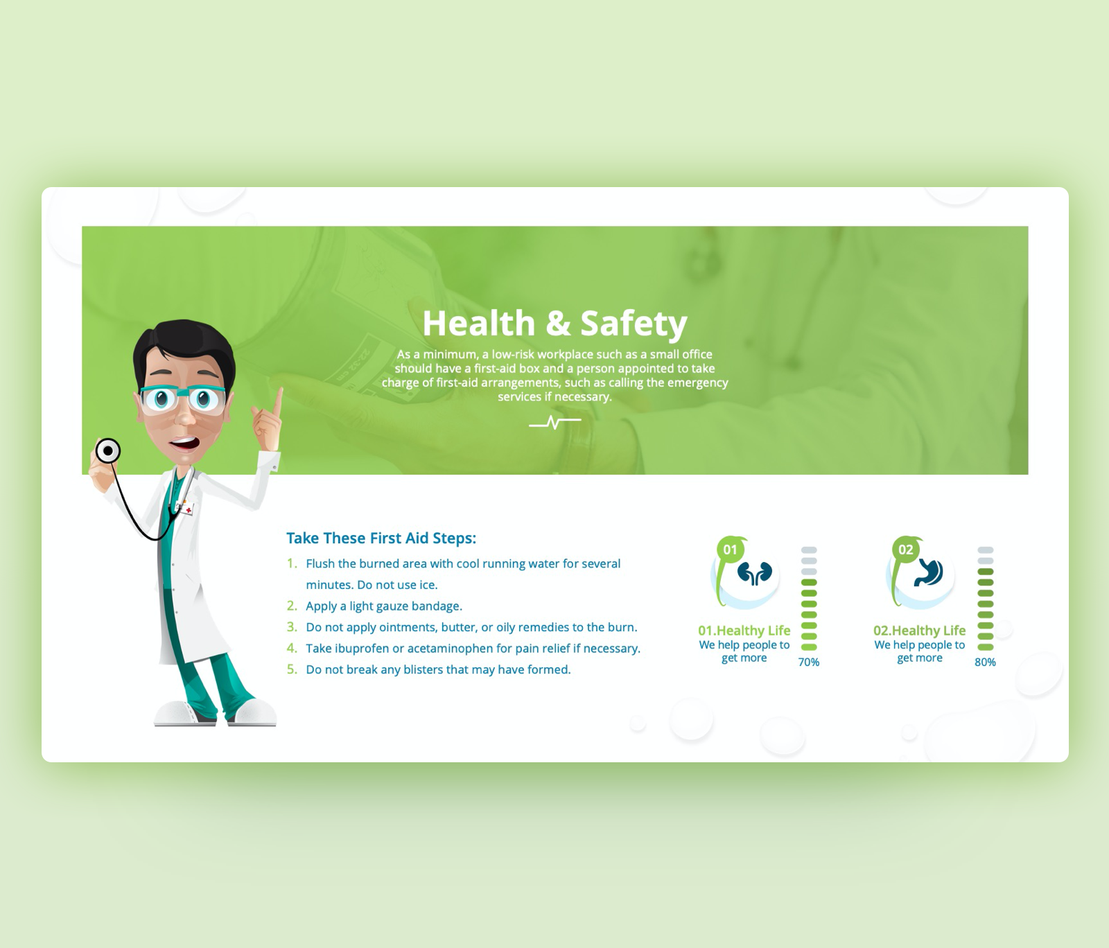 Health & Safety PowerPoint Template – First Aid Steps
