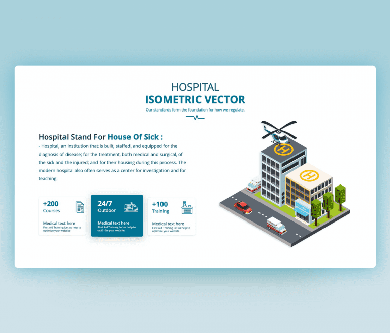 Hospital Isometric Vector PowerPoint template