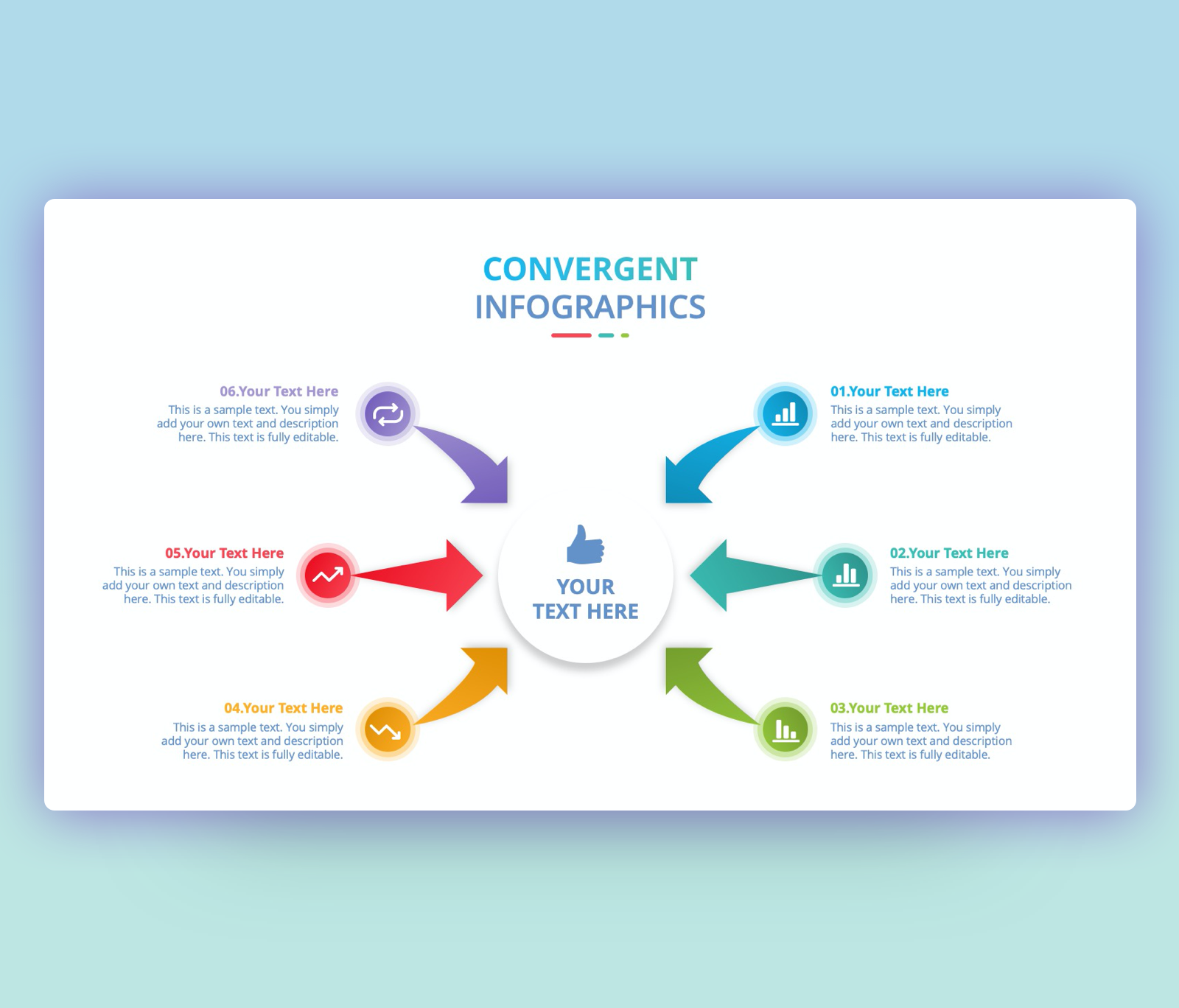 Free Convergent Infographic with Curved Arrow PPT