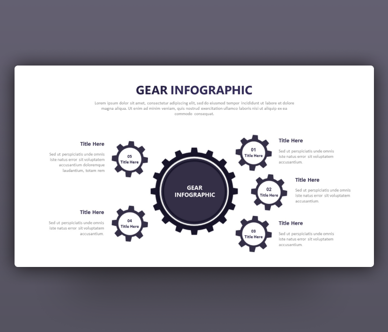 5 Gear Shape Options Infographic Template For PowerPoint