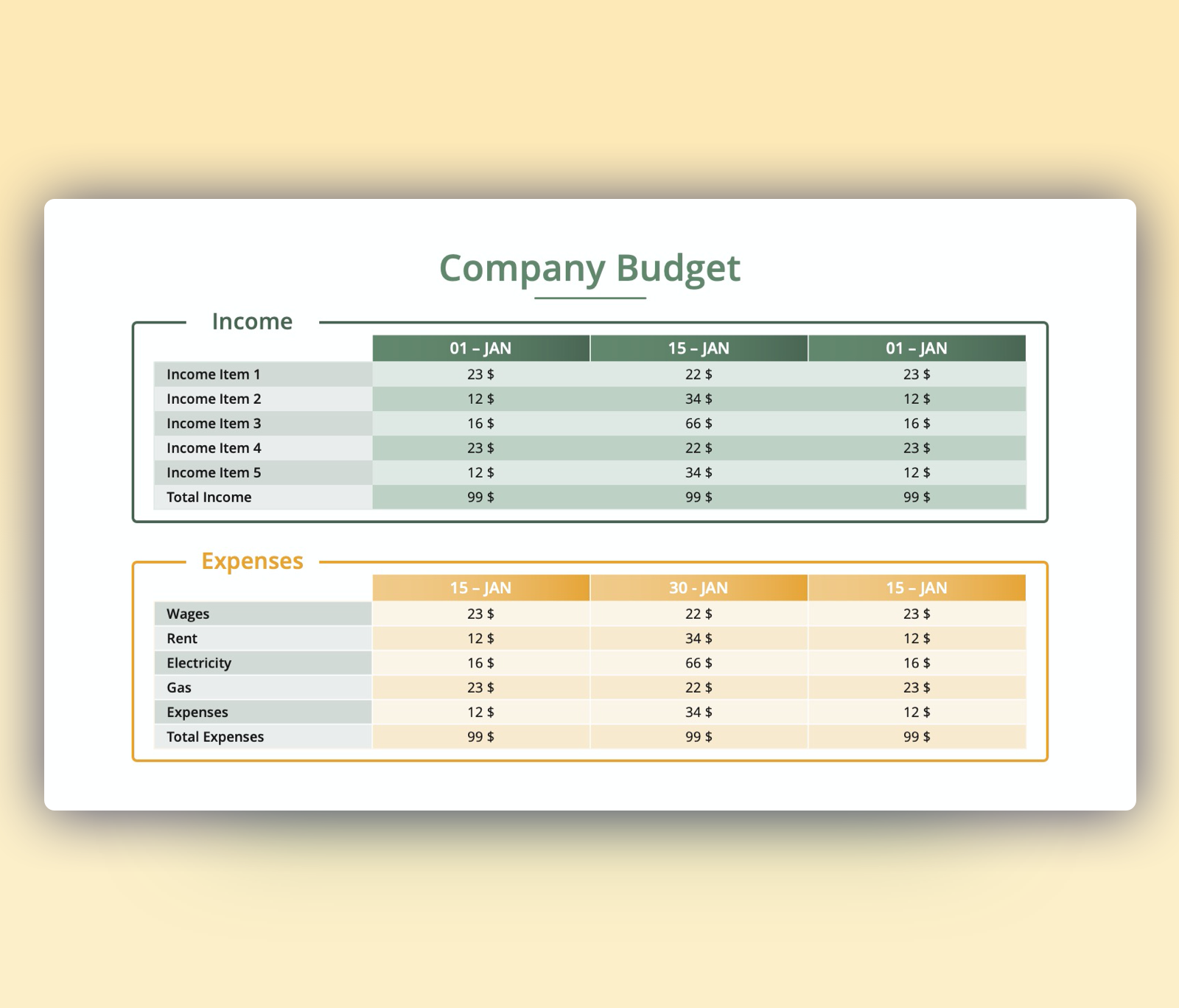 Company Budget Tables (Income and Expenses) PPT Slide