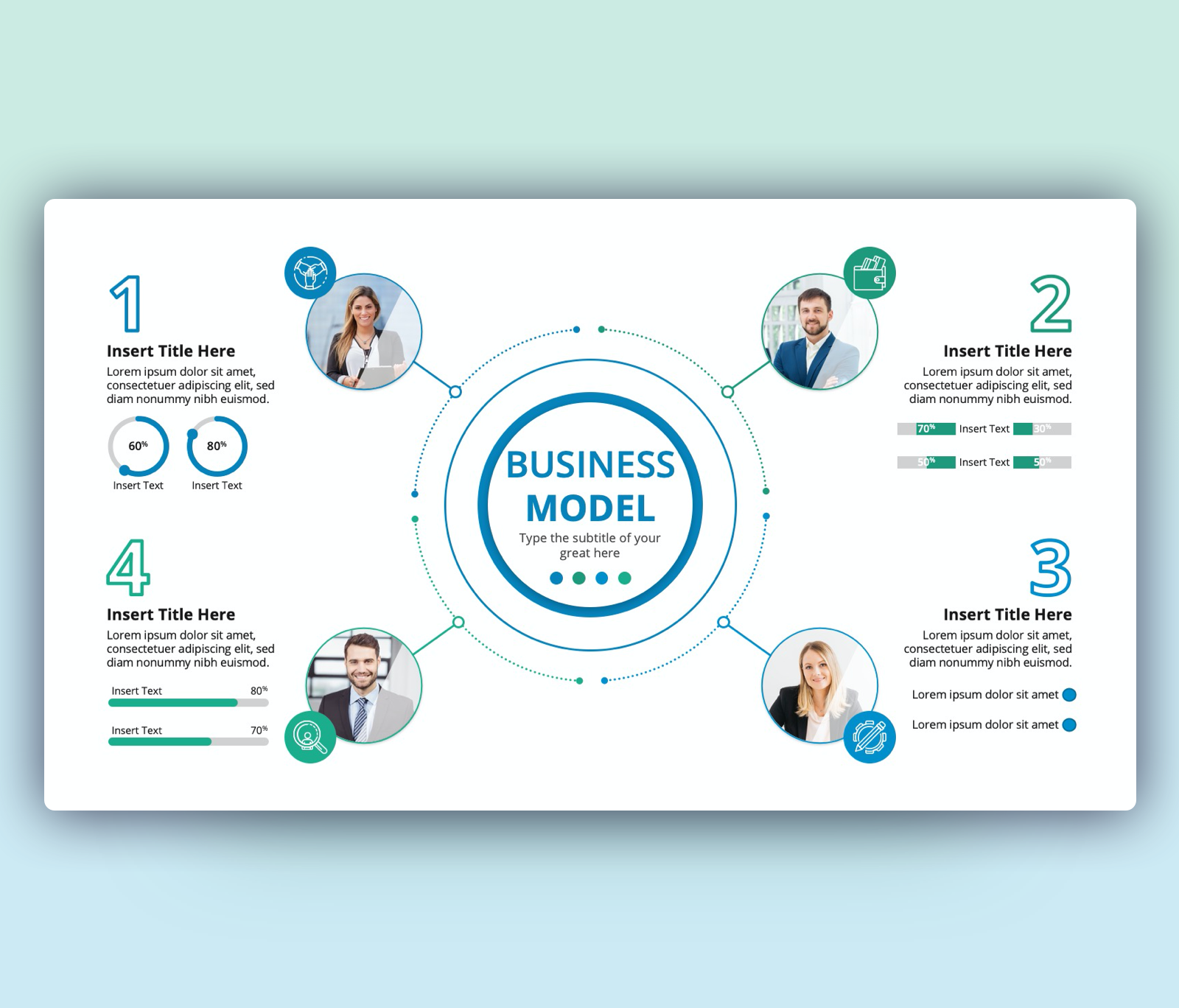 4 steps Business Model PowerPoint Template