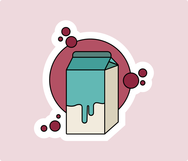 milk carton flat sticker