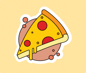 Pizza Flat Sticker Illustrations