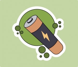 Battery Flat Sticker Illustrations