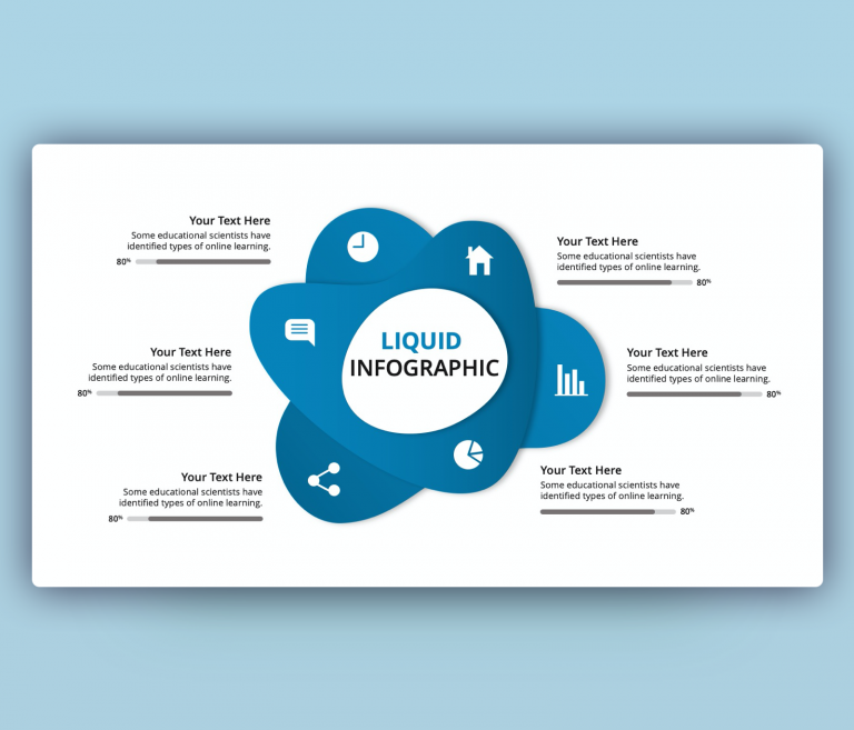 Liquid Infographic PPT with 6 Steps Design