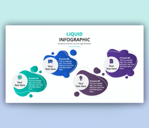 Liquid Infographic PowerPoint Template with 4 Steps Icons