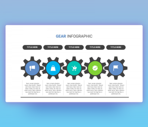 5 Steps Gear Infographic PPT Template for PowerPoint