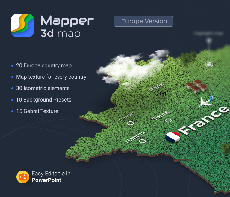 Mapper – 20 European Countries 3D Maps for PowerPoint