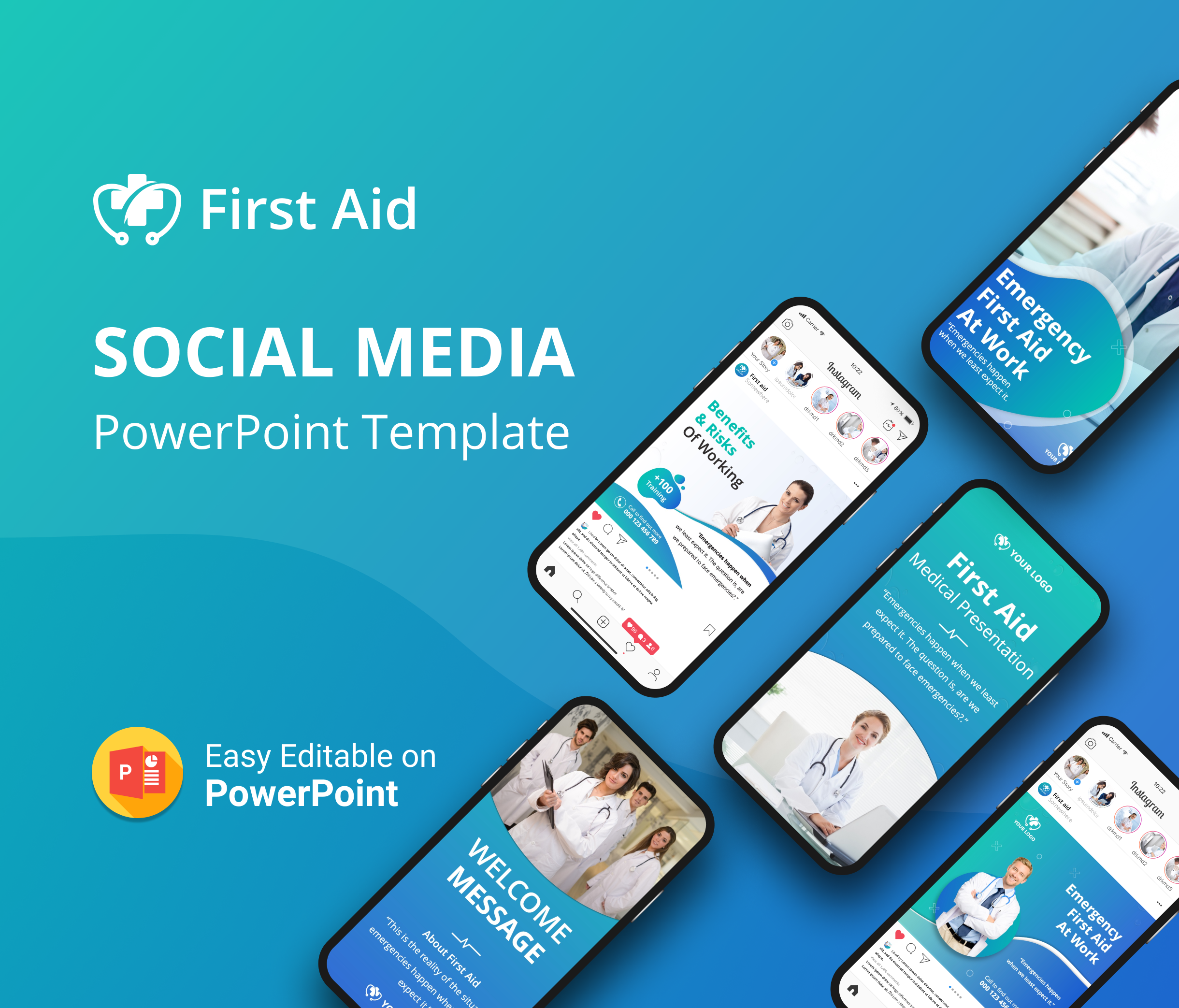 Medical First Aid Social Media PowerPoint Template