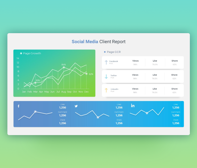 Social Media Client Report Dashboard Template