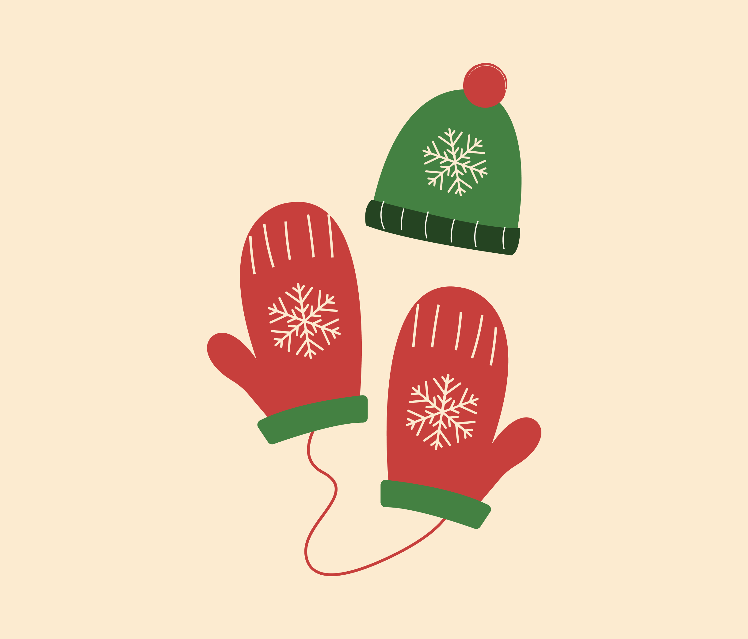 Christmas Gloves and Hat Graphic Design for PowerPoint
