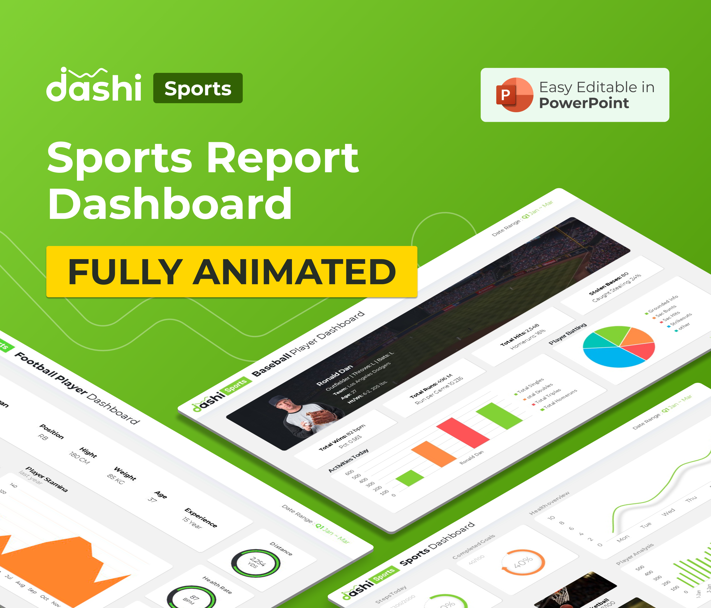 dashi Sports Dashboard PowerPoint Report Presentation